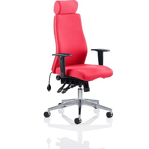 Onyx High Back Ergonomic Posture Office Chair With Headrest Cherry Red With Arms