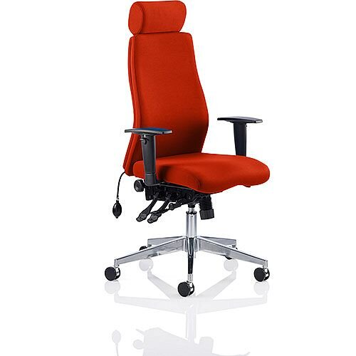 Onyx High Back Ergonomic Posture Office Chair With Headrest Pimento Rustic Orange With Arms