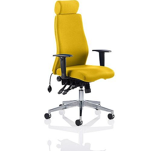Onyx High Back Ergonomic Posture Office Chair With Headrest Sunset Yellow With Arms