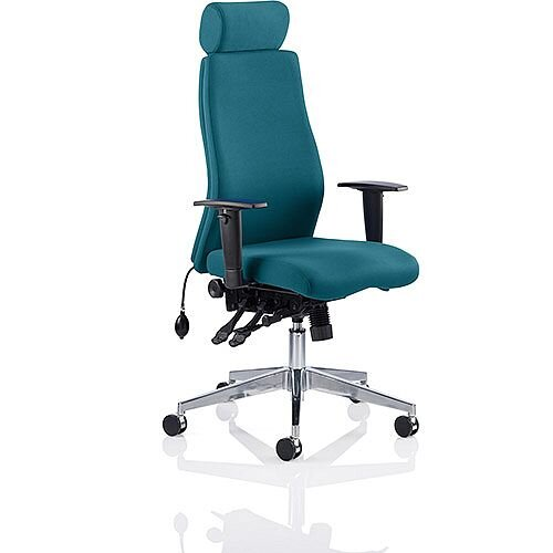 Onyx High Back Ergonomic Posture Office Chair With Headrest Kingfisher Green With Arms