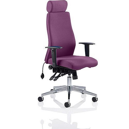 Onyx High Back Ergonomic Posture Office Chair With Headrest Purple With Arms