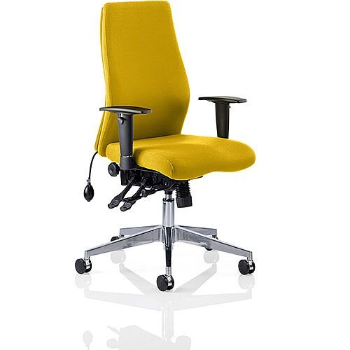 Onyx High Back Ergonomic Posture Office Chair Sunset Yellow With Arms
