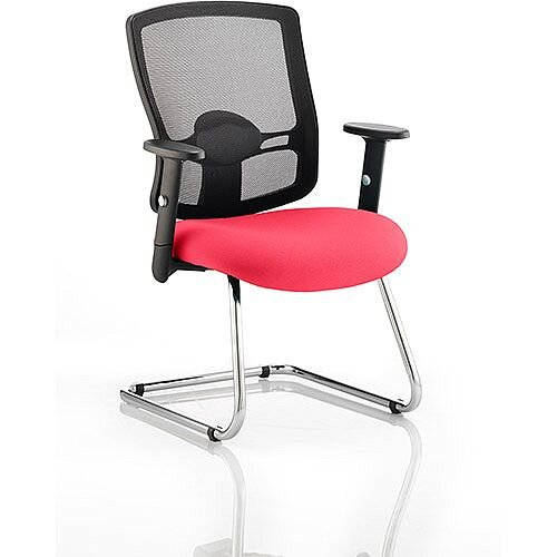 Portland Boardroom &Visitor Chair Cantilever Cherry Red