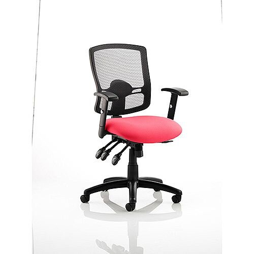 Portland III Task Operator Office Chair Black Mesh Back Cherry Red