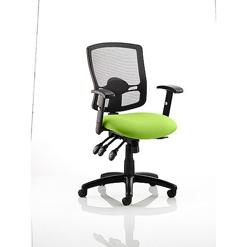 Portland III Task Operator Office Chair Black Mesh Back Swizzle Green
