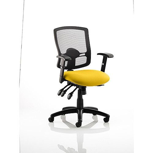 Portland III Task Operator Office Chair Black Mesh Back Sunset Yellow