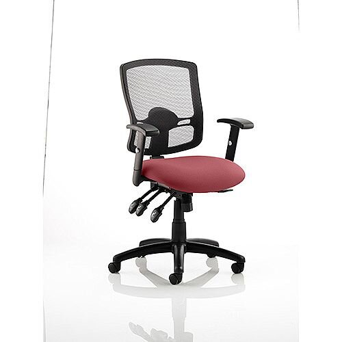 Portland III Task Operator Office Chair Black Mesh Back Chilli Red