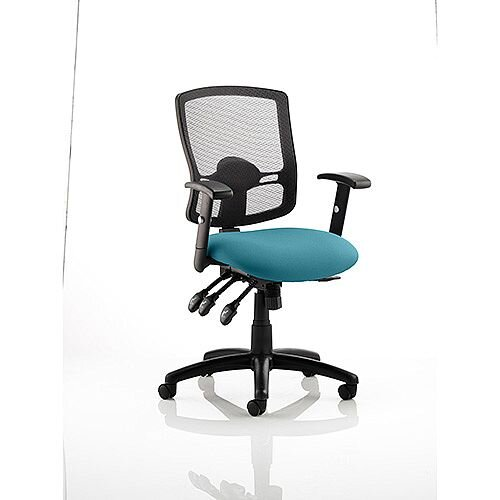 Portland III Task Operator Office Chair Black Mesh Back Kingfisher Green