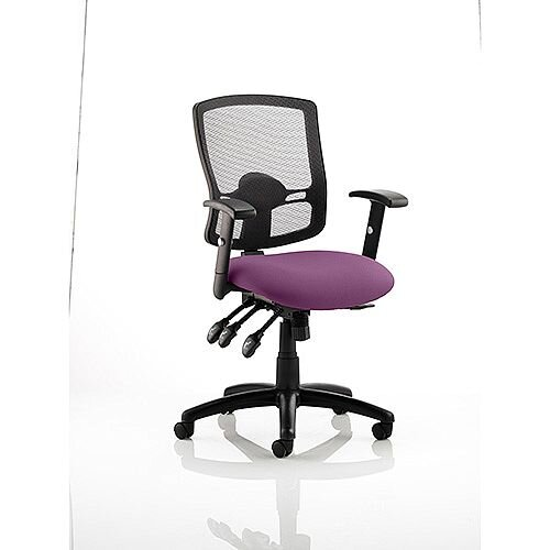 Portland III Task Operator Office Chair Black Mesh Back Purple