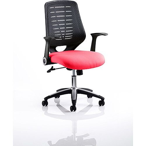 Relay Task Operator Office Chair Black Back Cherry Red