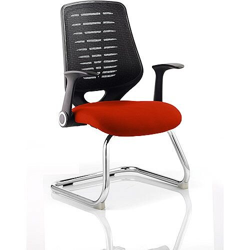 Relay Boardroom &Visitor Chair Cantilever Black Back Pimento Rustic Orange