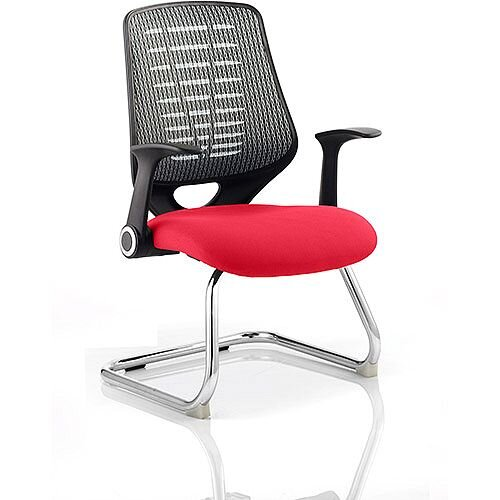 Relay Boardroom &Visitor Chair Cantilever Silver Back Cherry Red