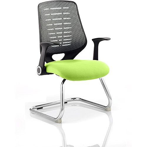Relay Boardroom &Visitor Chair Cantilever Silver Back Swizzle Green