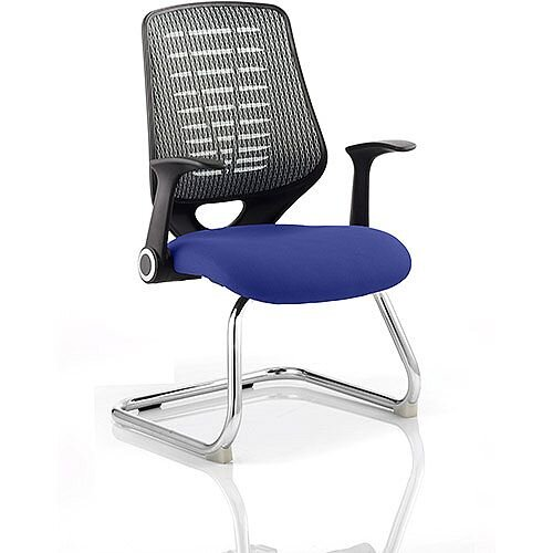 Relay Boardroom &Visitor Chair Cantilever Silver Back Serene Blue