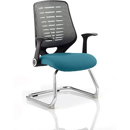 Relay Boardroom &Visitor Chair Cantilever Silver Back Kingfisher Green