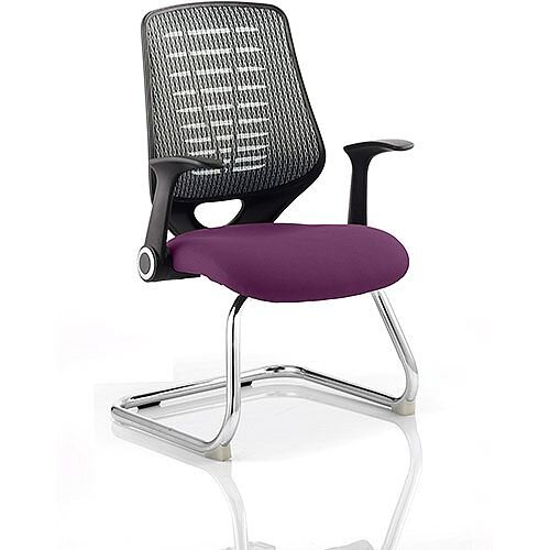 Relay Boardroom &Visitor Chair Cantilever Silver Back Purple