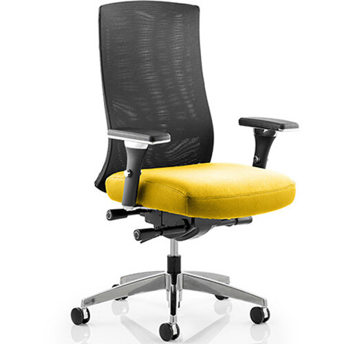 Tesla High Back Task Operator Office Chair Sunset Yellow