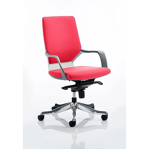 Xenon Executive Office Chair White Frame Medium Back Cherry Red Seat