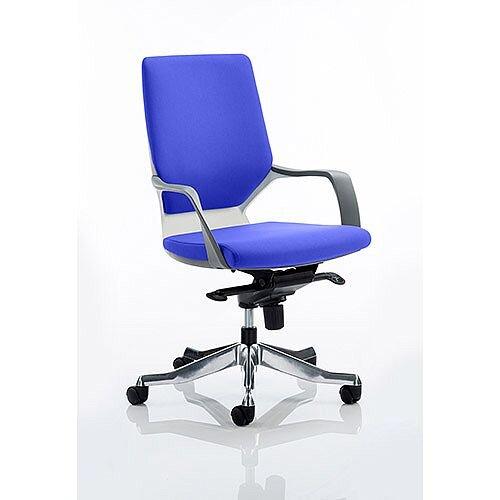 Xenon Executive Office Chair White Frame Medium Back Serene Blue Seat