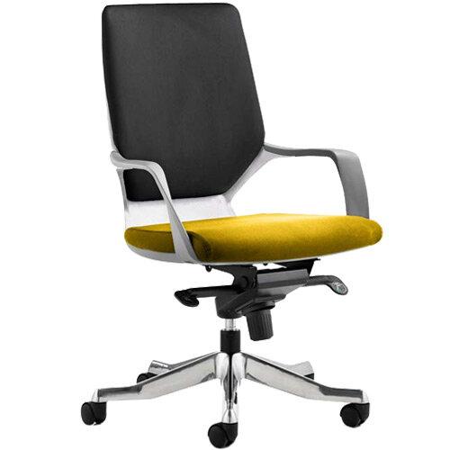 Xenon Executive Office Chair White Frame Medium Back Black &Sunset Yellow Seat