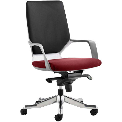 Xenon Executive Office Chair White Frame Medium Back Black &Chilli Red Seat