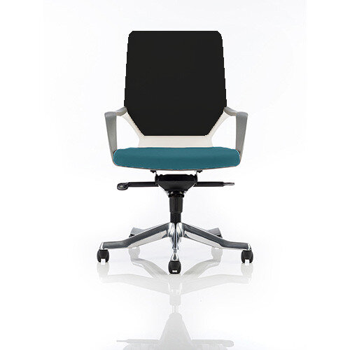 Xenon Executive Office Chair White Frame Medium Back Black &Kingfisher Green Seat