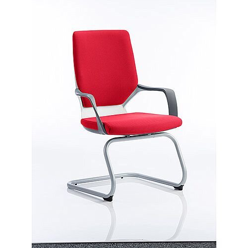 Xenon White Frame Boardroom &Visitor Chair Cherry Red