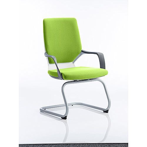 Xenon White Frame Boardroom &Visitor Chair Swizzle Green