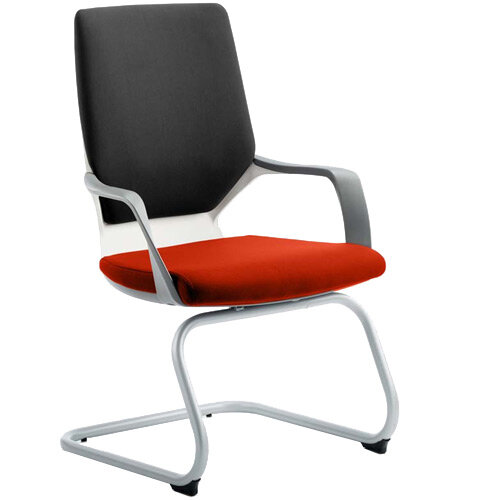 Xenon White Frame Boardroom &Visitor Chair Black Frame &Pimento Rustic Orange Seat