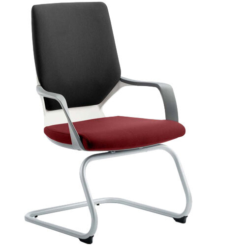 Xenon White Frame Boardroom &Visitor Chair Black Frame &Chilli Red Seat