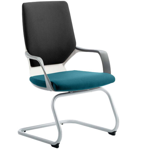Xenon White Frame Boardroom &Visitor Chair Black Frame &Kingfisher Green Seat