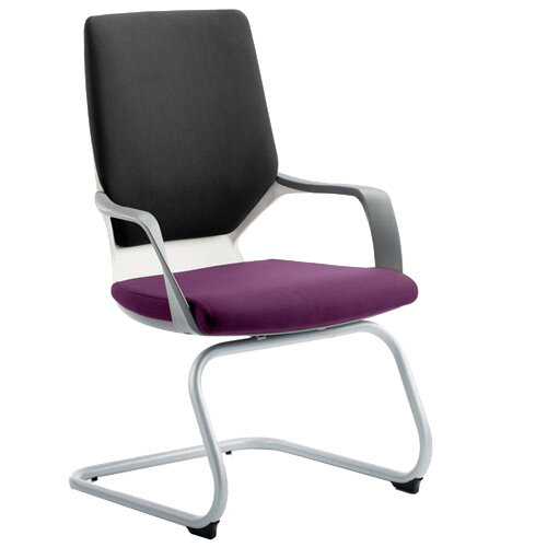 Xenon White Frame Boardroom &Visitor Chair Black Frame &Purple Seat