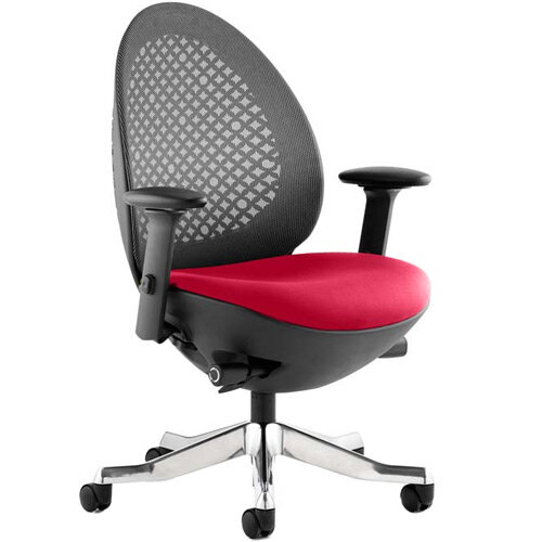 Revo Mesh Back Task Operator Office Chair In Cherry Red