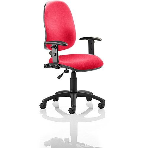 Eclipse I Lever Task Operator Office Chair With Height Adjustable Arms In Cherry Red