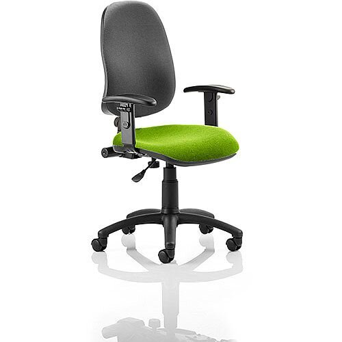 Eclipse I Lever Task Operator Office Chair With Height Adjustable Arms Black Back Swizzle Green Seat