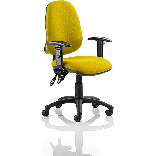 Eclipse II Lever Task Operator Office Chair With Height Adjustable Arms In Sunset Yellow