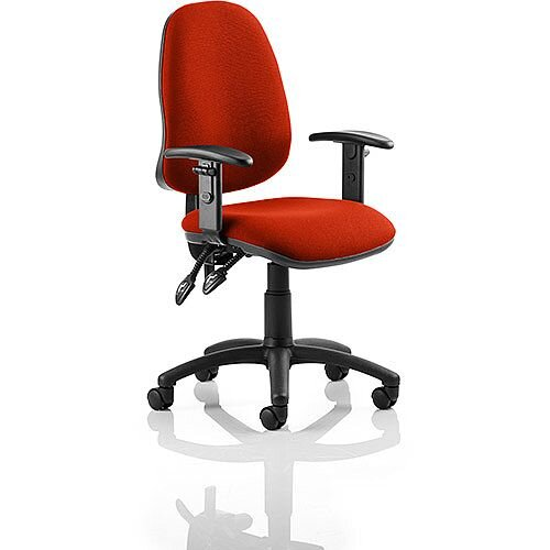 Eclipse II Lever Task Operator Office Chair With Height Adjustable Arms In Pimento Rustic Orange