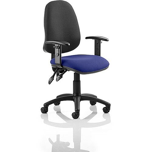 Eclipse II Lever Task Operator Office Chair With Height Adjustable Arms Black Back Serene Blue Seat