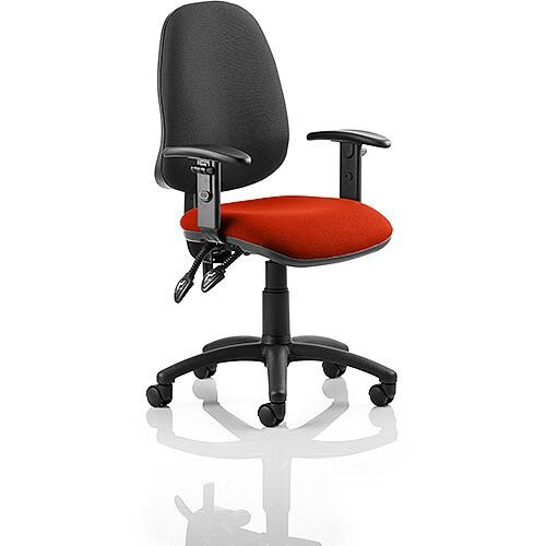 Eclipse II Lever Task Operator Office Chair With Height Adjustable Arms Black Back Pimento Rustic Orange Seat