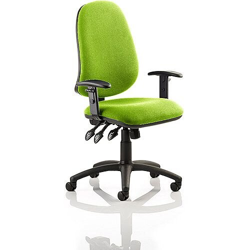 Eclipse XL III Lever Task Operator Office Chair With Height Adjustable Arms In Swizzle Green
