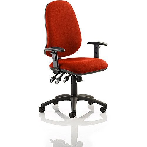 Eclipse XL III Lever Task Operator Office Chair With Height Adjustable Arms In Pimento Rustic Orange