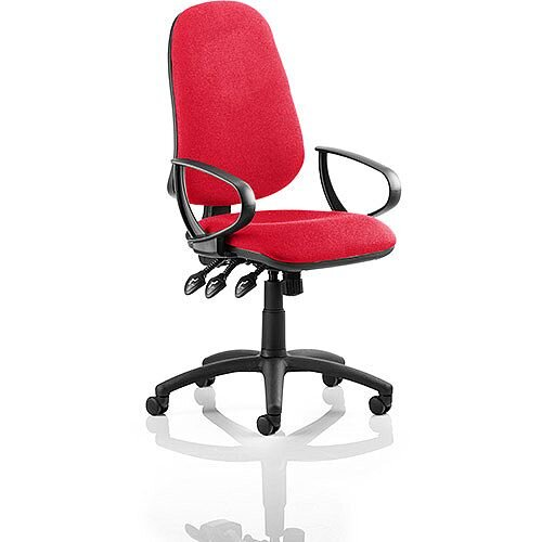Eclipse XL III Lever Task Operator Office Chair With Loop Arms In Cherry Red
