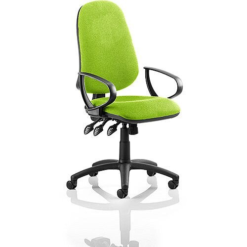 Eclipse XL III Lever Task Operator Office Chair With Loop Arms In Swizzle Green