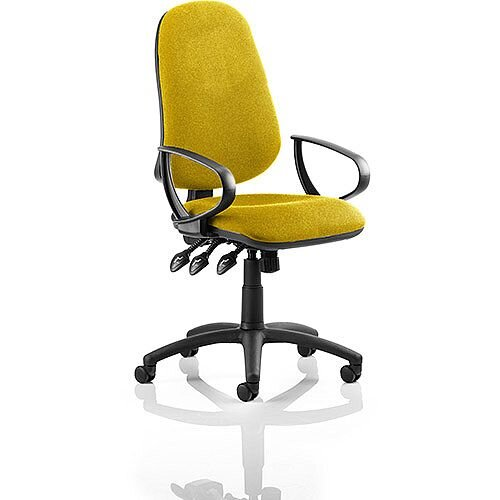 Eclipse XL III Lever Task Operator Office Chair With Loop Arms In Sunset Yellow