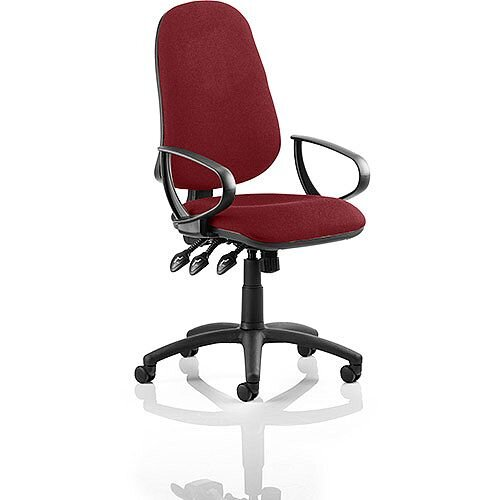 Eclipse XL III Lever Task Operator Office Chair With Loop Arms In Chilli Red