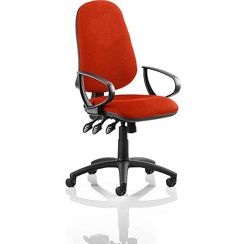 Eclipse XL III Lever Task Operator Office Chair With Loop Arms In Pimento Rustic Orange