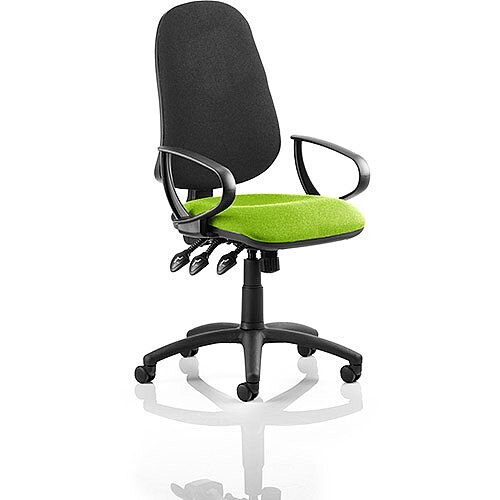 Eclipse XL III Lever Task Operator Office Chair With Loop Arms Black Back Swizzle Green Seat