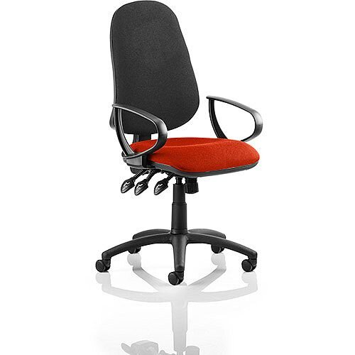 Eclipse XL III Lever Task Operator Office Chair With Loop Arms Black Back Pimento Rustic Orange Seat