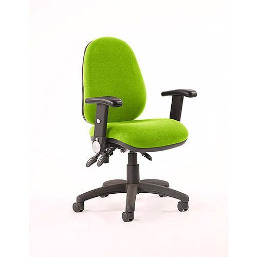 Luna II Lever Task Operator Office Chair With Height Adjustable &Folding Arms In Swizzle Green