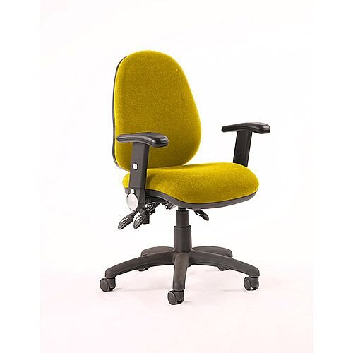 Luna II Lever Task Operator Office Chair With Height Adjustable &Folding Arms In Sunset Yellow